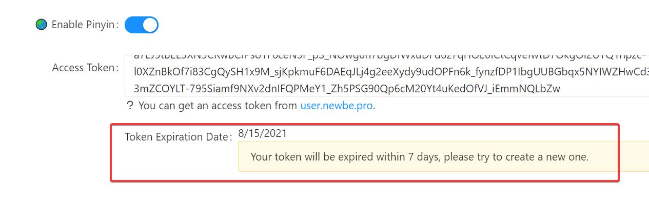 token expired date